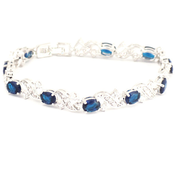 Elegant 18K White Gold Plated Bracelet With Created Sapphire Stones