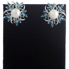 18K White Gold Plated Sky Blue Pearl Earrings - Gifts Are Blue - 4