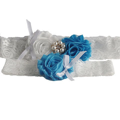 2 Pcs White Lace Wedding Garter Set with Sky Blue Rosettes and Pearl Decoration - Gifts Are Blue