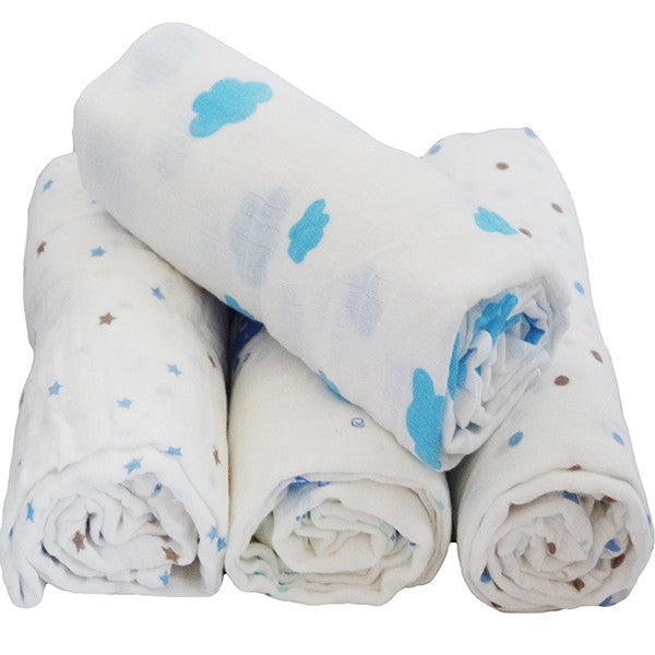 4 Pack Multiple Uses Pre-Washed Muslin Cotton Swaddle Blankets, Large, 47 x 47 - Gifts Are Blue - 1