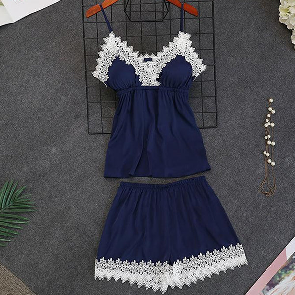5pcs Womens Robe, Nightgown and Pajama Set, Short pcs, Navy Blue
