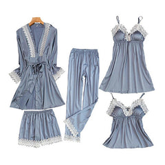 5pcs Womens Robe, Nightgown and Pajama Set, Satin w Lace