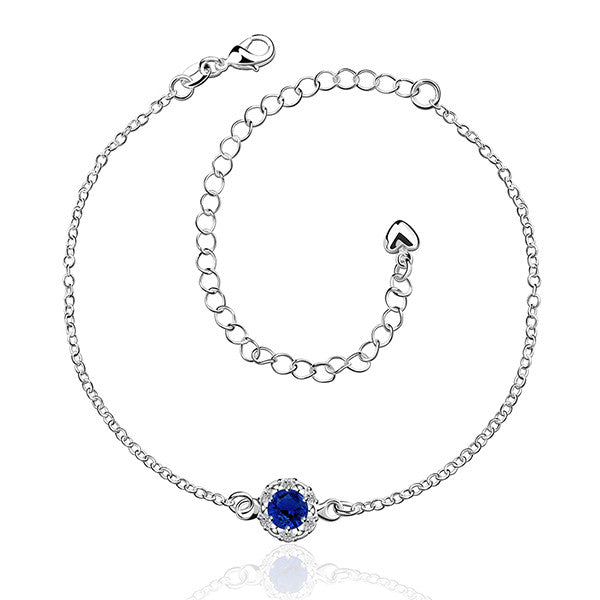 Elegant 925 Sterling Silver Blue Anklet Foot Chain