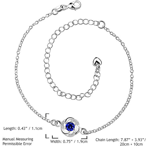 Sterling Silver Anklet with Blue Sapphire Rhinestone - Gifts Are Blue - 2