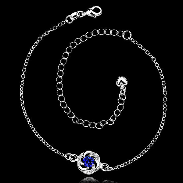 Sterling Silver Anklet with Blue Sapphire Rhinestone - Gifts Are Blue - 3