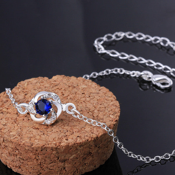 Sterling Silver Anklet with Blue Sapphire Rhinestone - Gifts Are Blue - 4