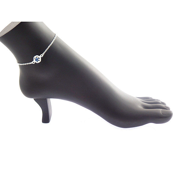 Sterling Silver Anklet with Blue Sapphire Rhinestone - Gifts Are Blue - 5