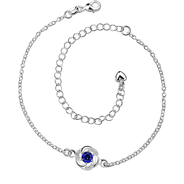 Sterling Silver Anklet with Blue Sapphire Rhinestone - Gifts Are Blue - 1