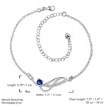 Stylish 925 Sterling Silver Blue Rhinestone Anklet Chain - Gifts Are Blue - 5