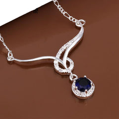 Elegant Silver-Plated Necklace with Blue Sapphire Cubic Zirconia - Gifts Are Blue - 3