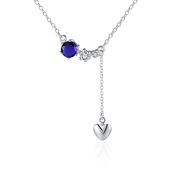 Sterling Silver Drop Heart Necklace with Blue Stone