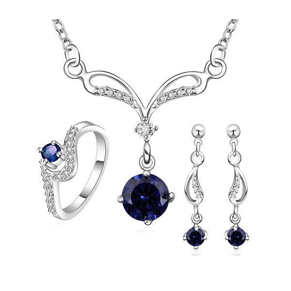 925 Sterling Silver Blue Sapphire Jewelry Set-Ring, Necklace, Earrings