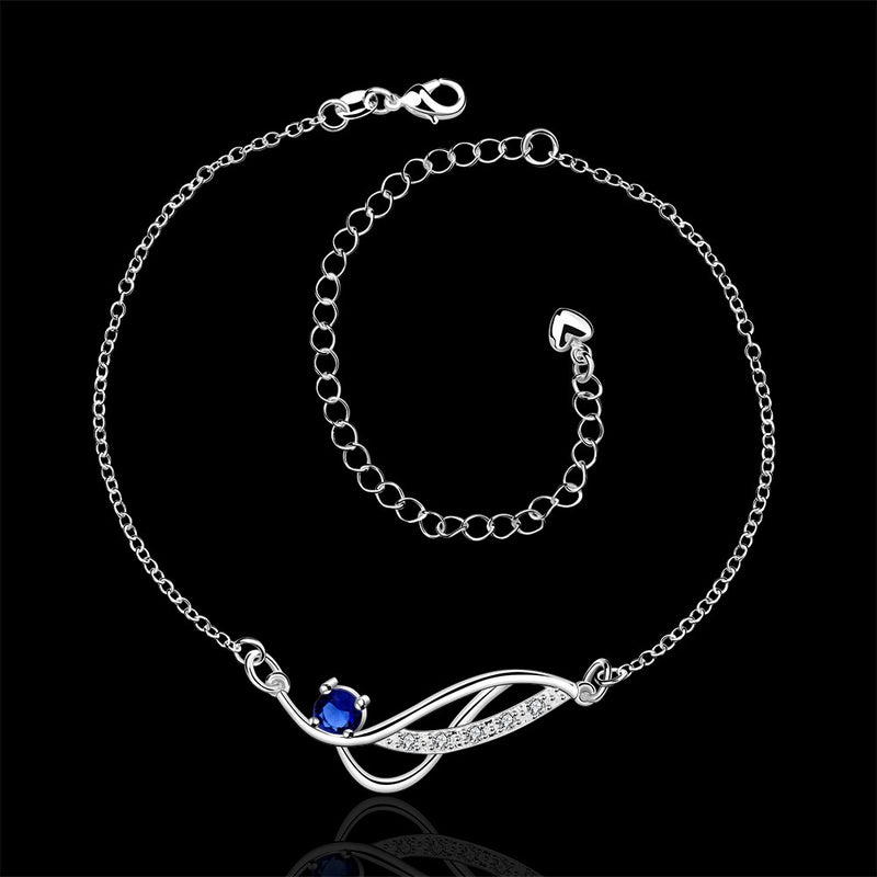 Stylish 925 Sterling Silver Blue Rhinestone Anklet Chain - Gifts Are Blue - 3