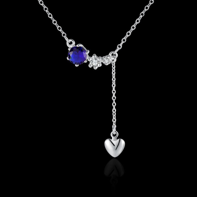Sterling Silver Drop Heart Necklace with Blue Stone - Gifts Are Blue - 2