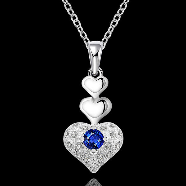 Elegant Sterling Silver Heart Shaped Jewelry Set With Necklace and Earrings - Gifts Are Blue - 2