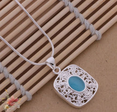 925 Sterling Silver Necklace with Ocean Blue Stone - Gifts Are Blue - 5