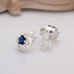 925 Sterling Silver Stud Earrings with Blue Sapphire Stones - Gifts Are Blue - 2