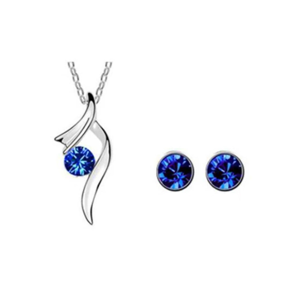 Angel Wing Austrian Crystal Jewelry Set Sapphire Main
