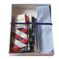 Mens Serious Tie and Whimsical Colorful Socks Gift Sets - Gifts Are Blue - 2