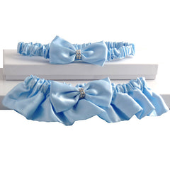 Baby Blue Satin Wedding Garter Set for Bride - Gifts Are Blue - 2
