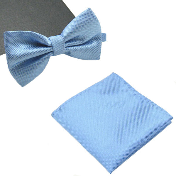 Mens Matching Baby Blue Bow Tie and Handkerchief Gift Set