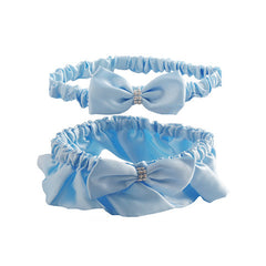 Baby Blue Satin Wedding Garter Set for Bride - Gifts Are Blue - 1