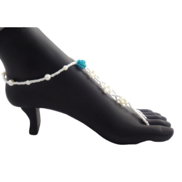 Blue Rose Pearl Beaded Barefoot Sandal Anklet, Beach Wedding Footwear - Gifts Are Blue - 4
