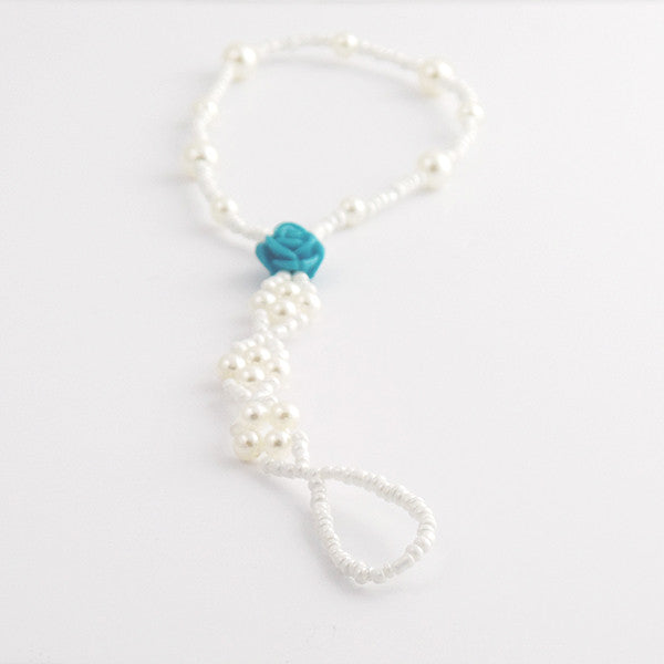 Blue Rose Pearl Beaded Barefoot Sandal Anklet, Beach Wedding Footwear - Gifts Are Blue - 2