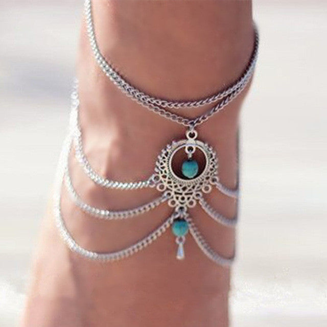Bohemian Style Beaded Chain Anklet, Barefoot Sandals Set - Gifts Are Blue - 2