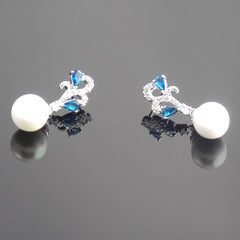 Beautiful Blue Sapphire White Pearl Earrings - Gifts Are Blue - 3