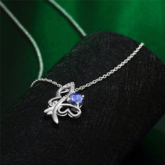 Sterling Silver Butterfly Necklace with Blue Cubic Zirconia - Gifts Are Blue - 4