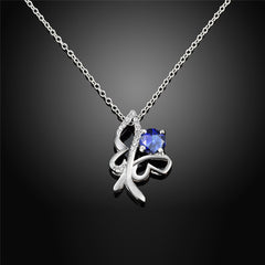 Sterling Silver Butterfly Necklace with Blue Cubic Zirconia - Gifts Are Blue - 3