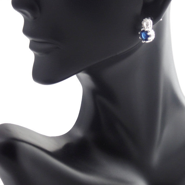 Elegant Blue Crystal Sterling Silver Jewelry Set, Necklace and Earrings - Gifts Are Blue - 3