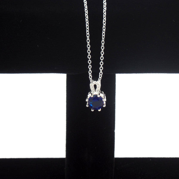 Elegant Blue Crystal Sterling Silver Jewelry Set, Necklace and Earrings - Gifts Are Blue - 4