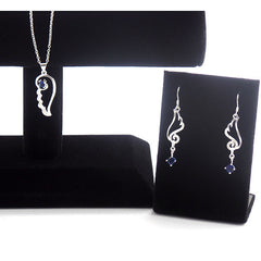 Stylish Blue Feather Design Necklace and Earrings Jewelry Set - Gifts Are Blue - 5