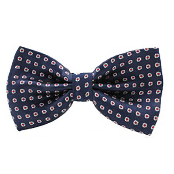 Mens Classic Blue Multi-Color Polka Dot Bow Tie