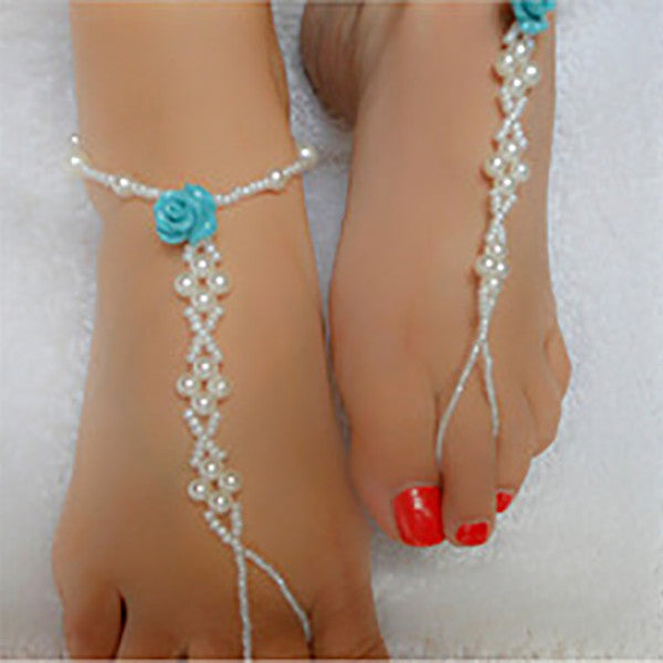 Blue Rose Pearl Beaded Barefoot Sandal Anklet, Beach Wedding Footwear