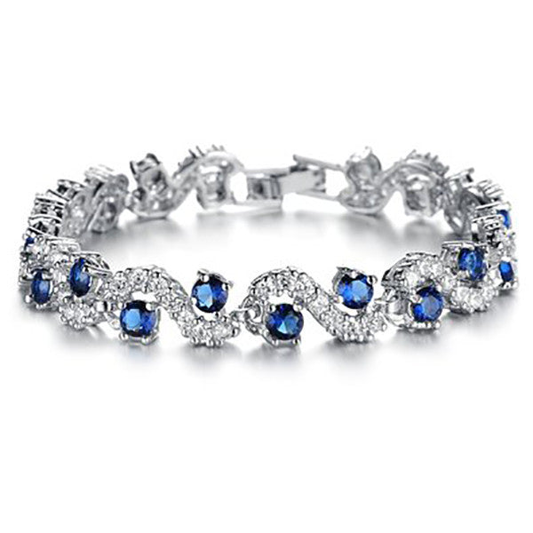 Fashionable Blue Sapphire Bracelet Jewelry With Gift Box