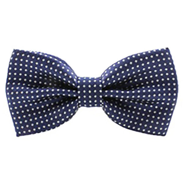 Mens Classic Blue with White Polka Dot Bow Tie - Gifts Are Blue