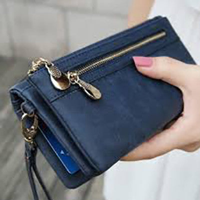Blue Leather Clutch Wristlet Purse with Double Zipper - Gifts Are Blue - all SKUs