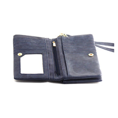 Blue Leather Clutch Wristlet Purse with Double Zipper - Gifts Are Blue - 5