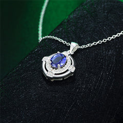 Classic Blue Cubic Zirconia Sterling Silver Necklace - Gifts Are Blue - 2
