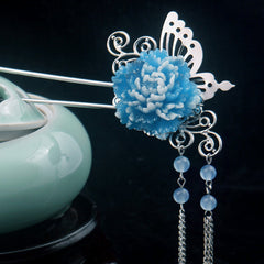 Stylish Butterfly and Pearl Hair Stick Pin with Blue Flower - Gifts Are Blue - 3