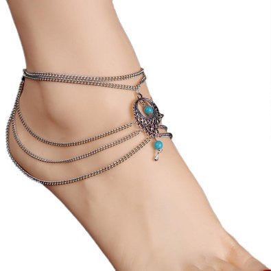 Bohemian Style Beaded Chain Anklet, Barefoot Sandals Set - Gifts Are Blue - 3