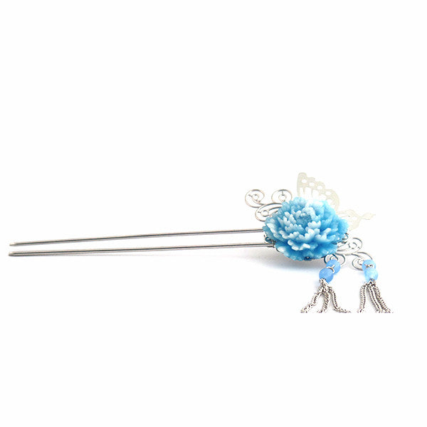 Stylish Butterfly and Pearl Hair Stick Pin with Blue Flower