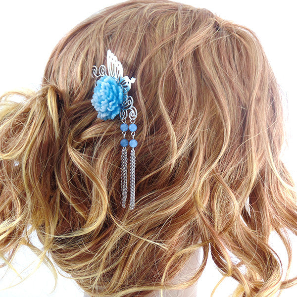 Stylish Butterfly and Pearl Hair Stick Pin with Blue Flower - Gifts Are Blue - 1