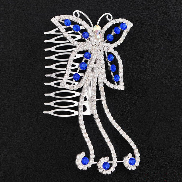 Stylish Blue Hair Comb / Hair Jewelry for Wedding or Special Event - Gifts Are Blue - 2