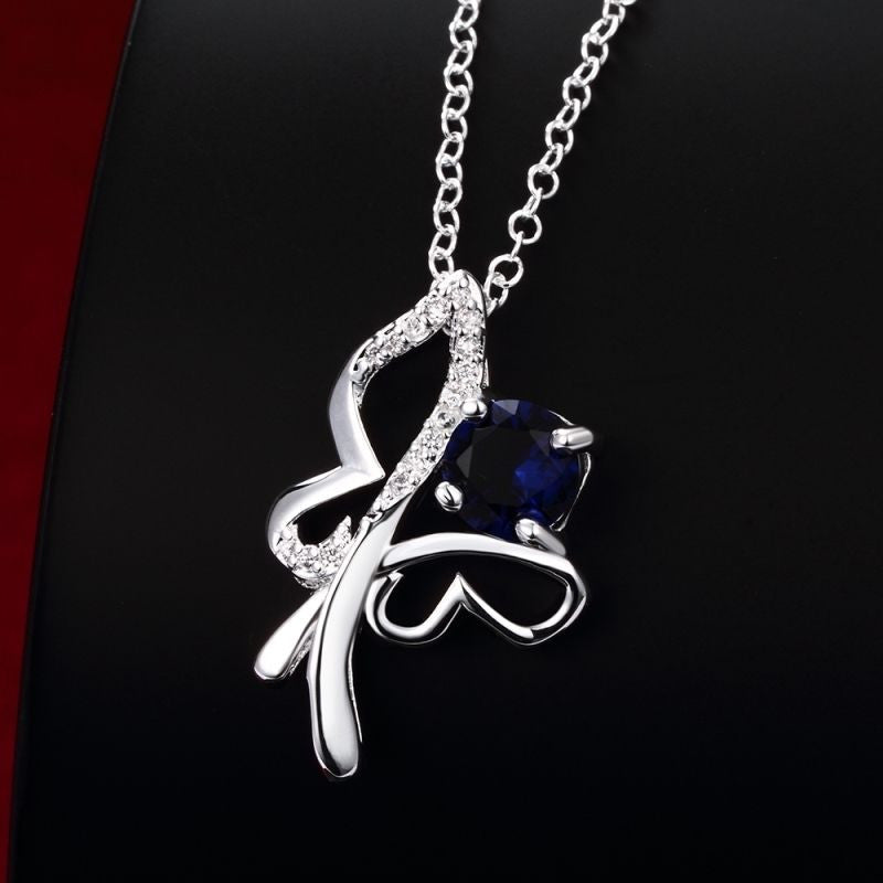 Sterling Silver Butterfly Necklace with Blue Cubic Zirconia - Gifts Are Blue - 2