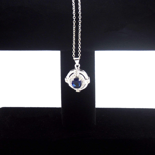 Classic Blue Cubic Zirconia Sterling Silver Necklace - Gifts Are Blue - 4