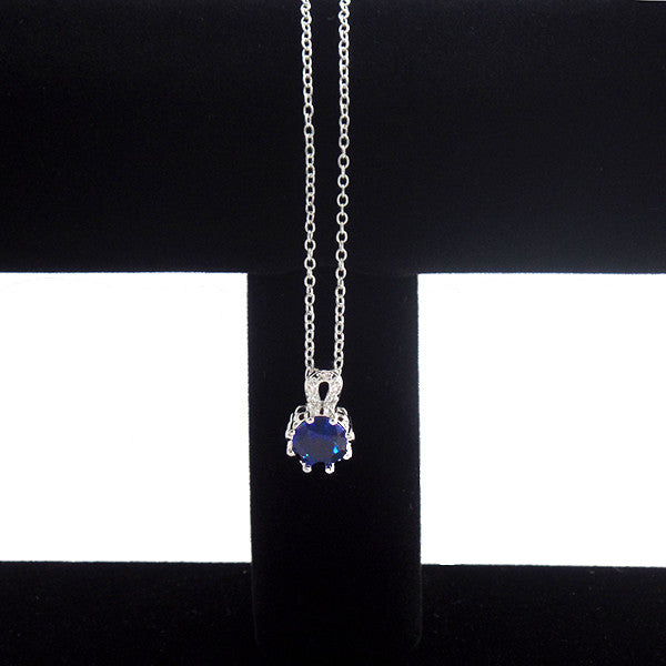 Classic Silver-Plated Necklace with Blue Cubic Zirconia Pendant - Gifts Are Blue - 2